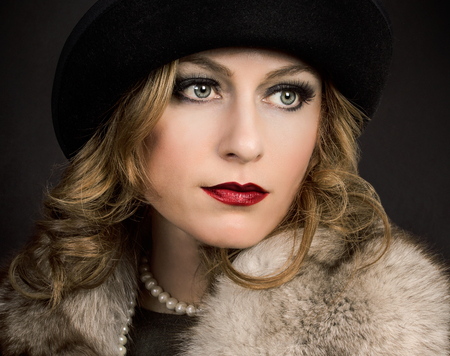 30 s: Retro Retro Woman Portrait.  Beautiful Woman..