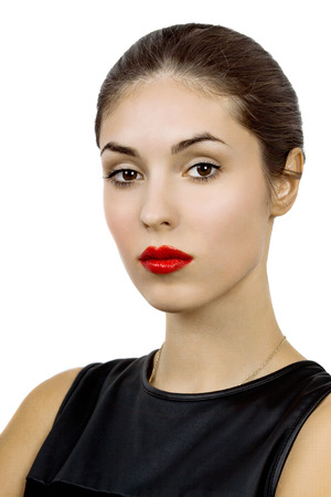 solated on white: Beautiful young woman portrait. Beauty girl face. Perfect skin, skincare. solated on white.