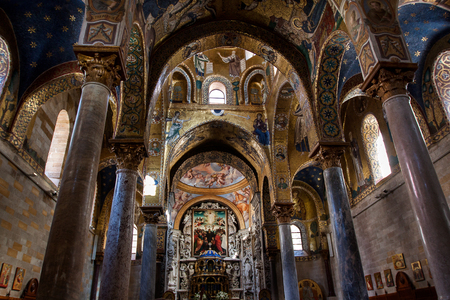 Interior Shot of the famous church Santa Maria  in Palermo in Sicily, Italy Editorial