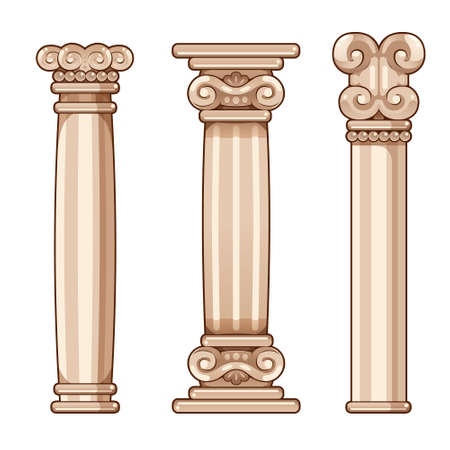 Cartoon Roman and Greek Columns, for interior and exterior