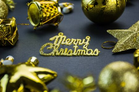 Christmas Decoration Designs Items with Black Background, Gift Box Gold And Red Color Ball