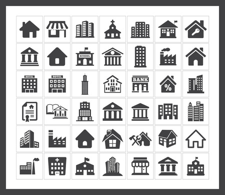 Building icons Stock Vector - 40881132