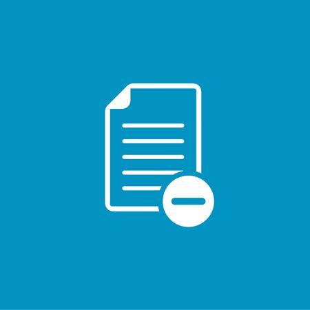 minus sign: document with minus sign icon Illustration