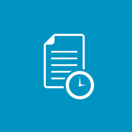 test deadline: document with Clock sign icon Illustration