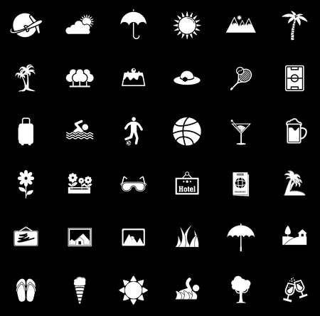 Summer icons set illustration on black background.