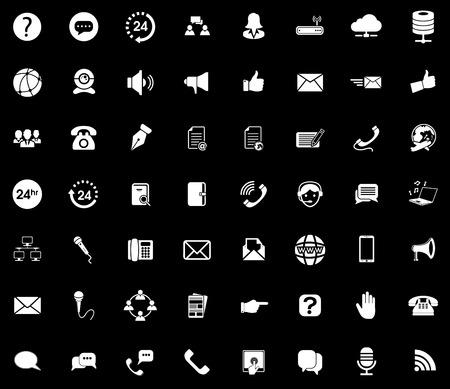 Communication icons set illustration on black background.