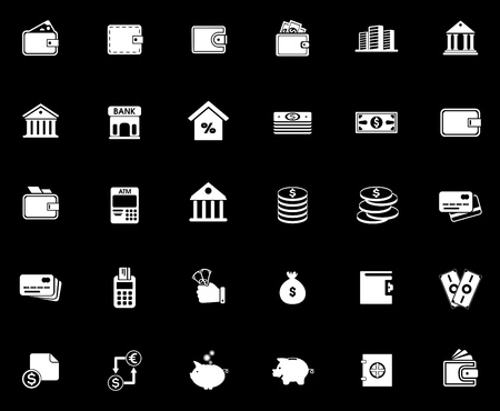Banking icons set illustration on black background. Stock Illustratie
