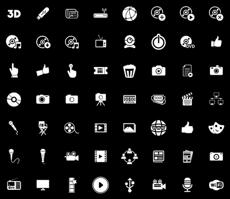 Media icons set illustration on black background. Stock Illustratie
