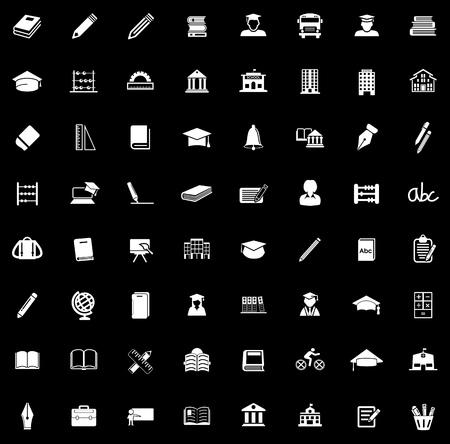 School icons set illustration on black background. Illustration