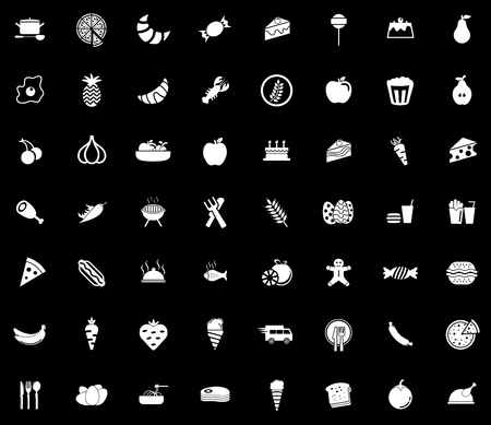 Food icons set illustration on black background.