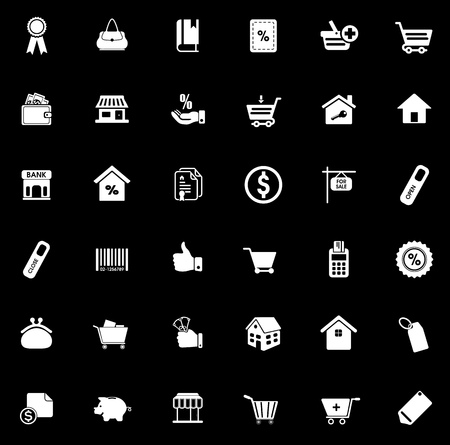 Sale icons set illustration on black background.