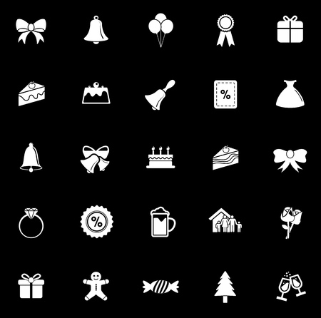 Christmas icons set illustration on black background.