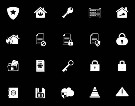 Security icons set illustration on black background.  イラスト・ベクター素材