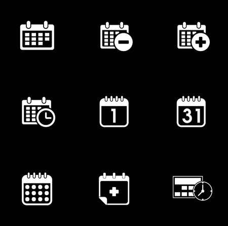Calendar icons set illustration on black background.