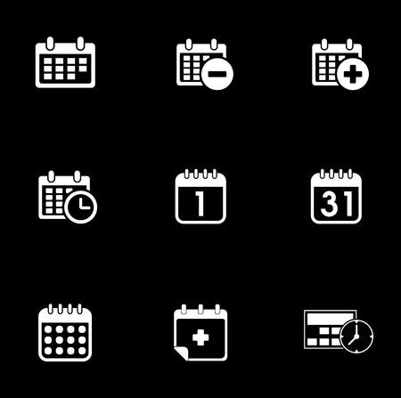 Calendar icons set illustration on black background.