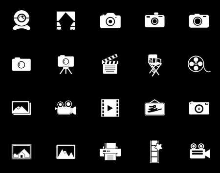 Photography icons set illustration on black background.