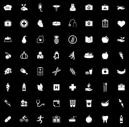 Health icons set illustration on black background.