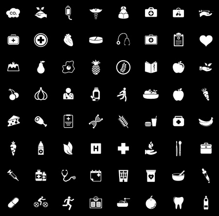 Health icons set illustration on black background.