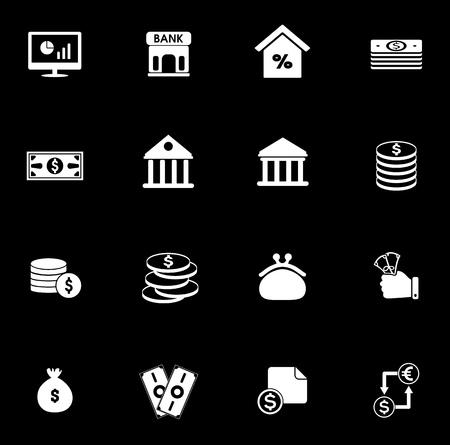 Investment icons set illustration on black background. Illustration
