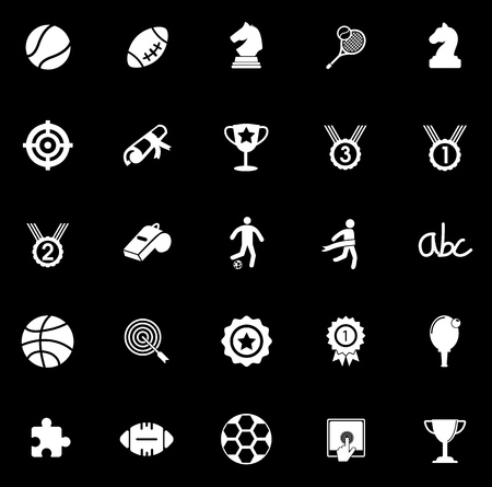 Game icons set illustration on black background.