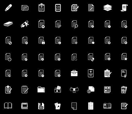 File folder icons illustration on black background.