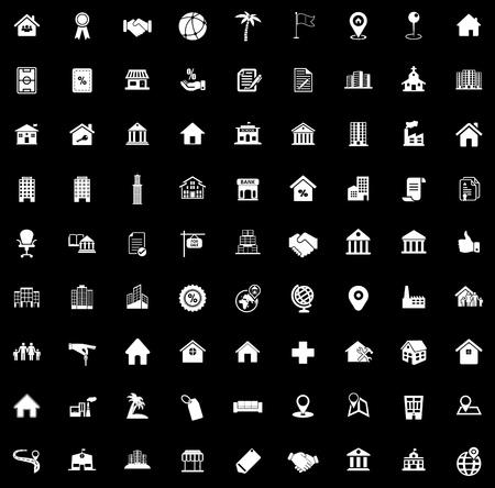 Real estate icons illustration on black background.