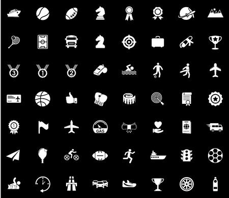 Sports icons set illustration on black background.