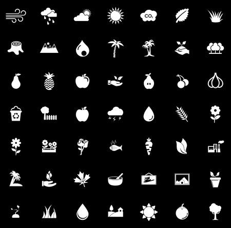 Nature icons set illustration on black background.