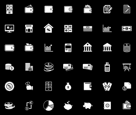 Financial icons set illustration on black background.