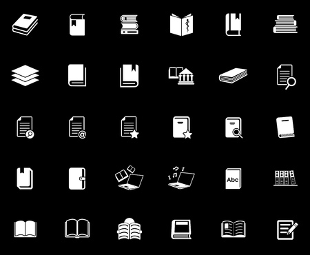 Book icons set illustration on black background. Stock Illustratie
