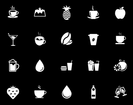 Drink icons set illustration on black background.
