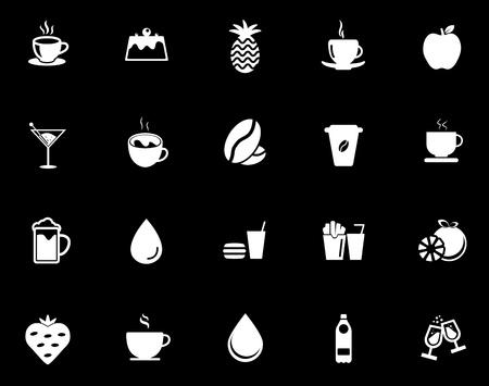 Drink icons set illustration on black background.