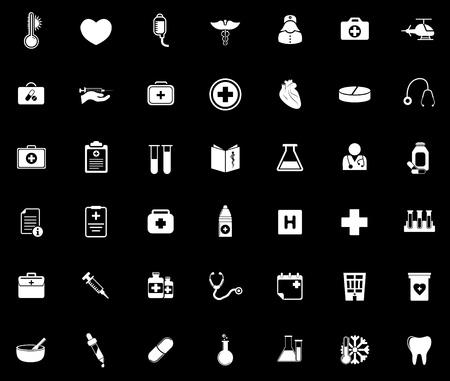 Medical icons set illustration on black background.