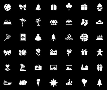 Holiday icons set illustration on black background.