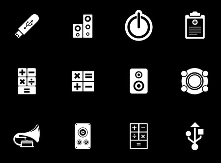 Electronic icons set illustration on black background. Stock Illustratie