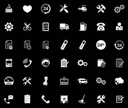 Service icons set illustration on black background.