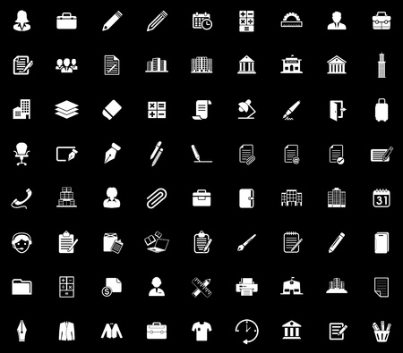 Office icons set illustration on black background.
