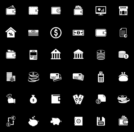 Money icons set illustration on black background. Stock Illustratie
