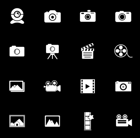 Camera icons set illustration on black background.