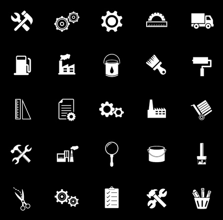 Industrial icons set illustration on black background. Stock Illustratie