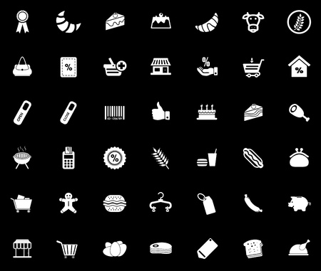 Supermarket icons set illustration on black background. Stock Illustratie