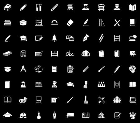 Education icons set illustration on black background.