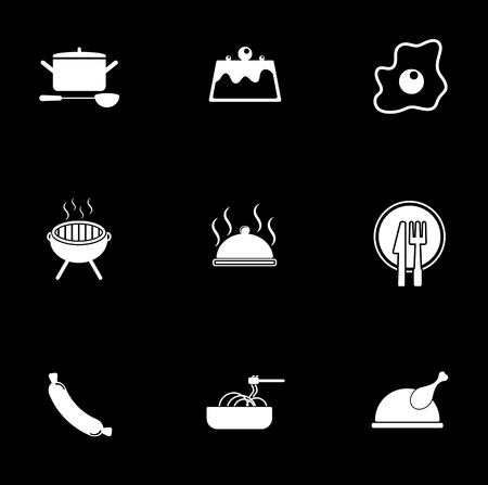 Cooking icons set illustration on black background.