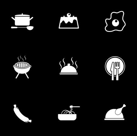 Cooking icons set illustration on black background.