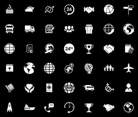 Shipping icons set Stock Illustratie