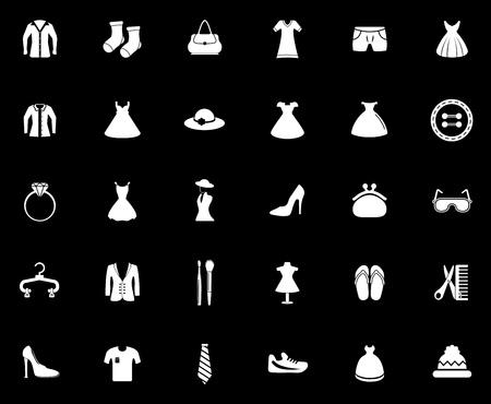 Fashion icons set illustration on black background.