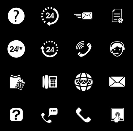 Support icons set illustration on black background.