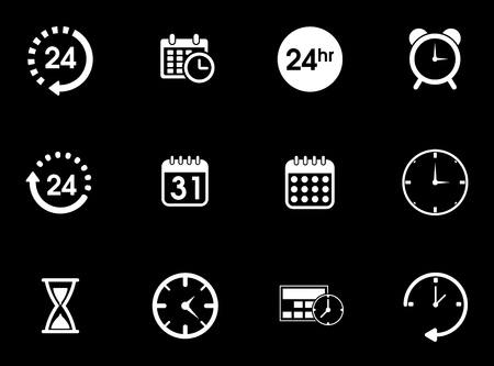 Time icons set illustration on black background.