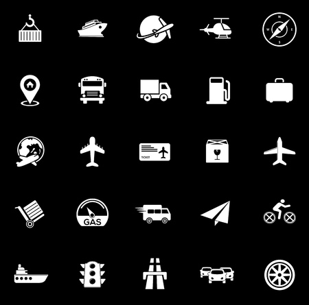 Transport icons set illustration on black background.