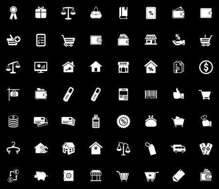 Commerce icons set illustration on black background.